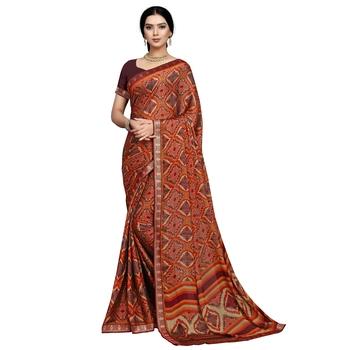 Maroon printed silk blend saree
