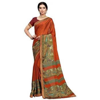 Orange printed silk blend saree