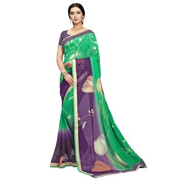 Light purple printed chiffon saree