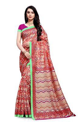 Red printed bhagalpuri cotton saree with blouse