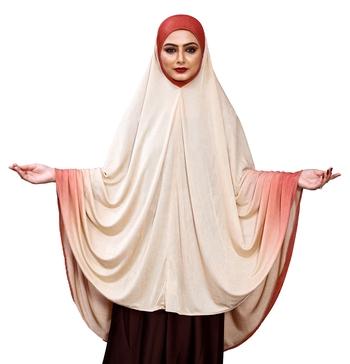 Justkartit Women's Long Ready To Wear 2 Shade Islamic Wear Prayer Chaderi Hijab