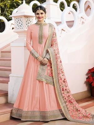 Peach Embroidered Silk Salwar With Dupatta