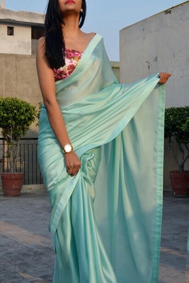 Sky Colored Georgette Designer Saree With Blouse