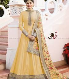 Yellow Embroidered Silk anarkali With Dupatta