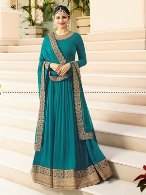 Turquoise Embroidered Faux Georgette Salwar With Dupatta