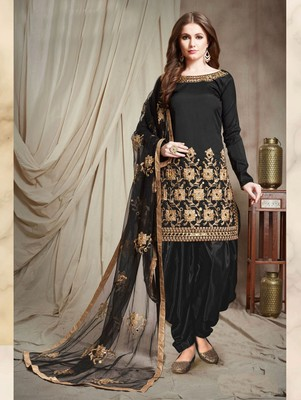Black Faux Georgette Designer Patiala Salwar Suit