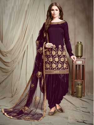 Violet Faux Georgette Designer Patiala Salwar Suit