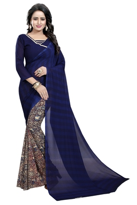 Navy blue printed faux georgette saree with blouse