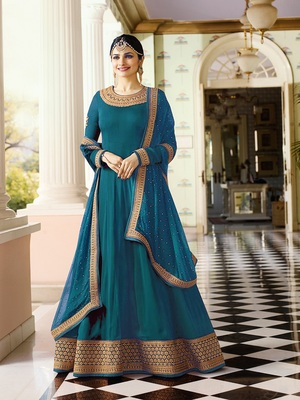 Turquoise Embroidered Faux Georgette With Dupatta