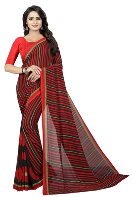 Maroon printed faux georgette saree with blouse
