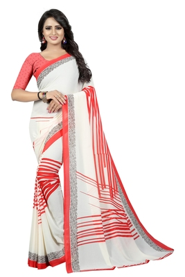 White printed faux georgette saree with blouse