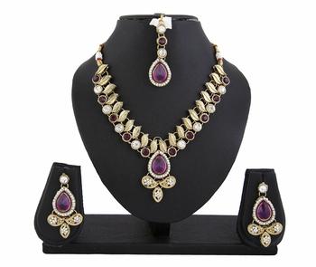 Purple Kundan Necklace Earrings Set