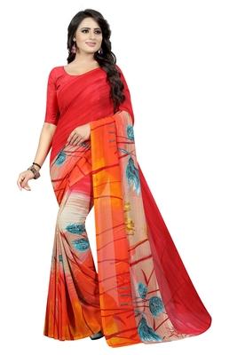 Multicolor printed faux georgette saree with blouse