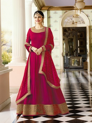 Pink Embroidered Faux Georgette Salwar With Dupatta