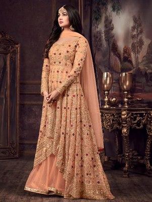 Peach Party Wear Designer Anarkali Suit