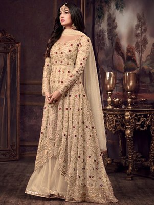 Beige Party Wear Designer Anarkali Suit