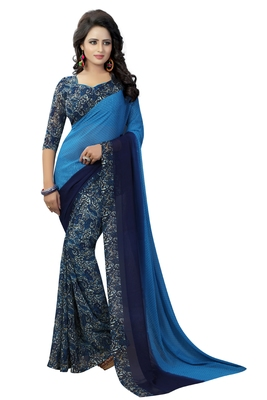Blue printed faux georgette saree with blouse