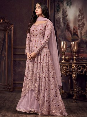 Light Purple Party Wear Designer Anarkali Suit