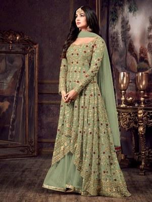 Mehendi Color Party Wear Designer Anarkali Suit