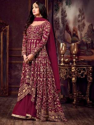 Maroon Party Wear Designer Anarkali Suit