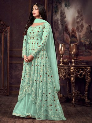 Turquoise Party Wear Designer Anarkali Suit