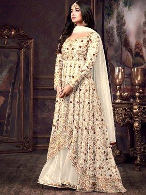 Off-White Party Wear Designer Anarkali Suit