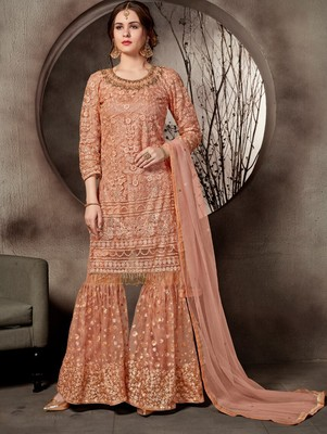 Light Salmon Designer Heavy Sequin Sharara Suit
