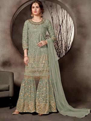Light Green Designer Heavy Sequin Sharara Suit
