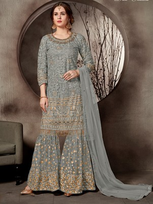 Light Grey Designer Heavy Sequin Sharara Suit