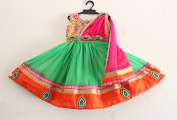Green and Orange Netted Frock