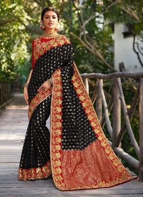 Black embroidered banarasi silk saree with blouse
