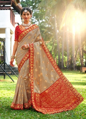 Grey embroidered banarasi silk saree with blouse