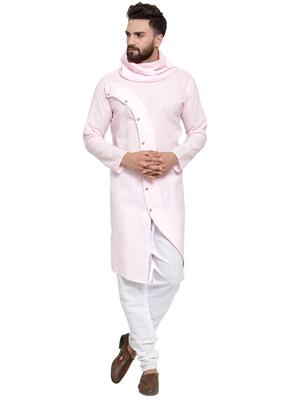 Designer Pink Linen Kurta-Pajama Set For Men
