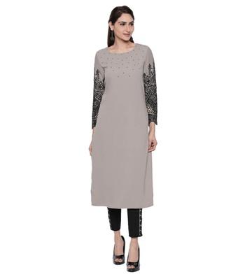Grey embroidered cotton kurtas-and-kurtis