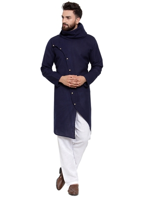 Designer Navy Blue Linen Kurta-Pajama For Men