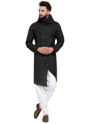Designer Black Linen Kurta-Pajama For Men