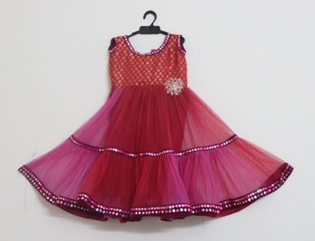 Pink and Red Netted Frock