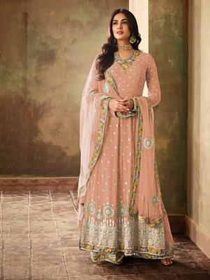 Light Salmon Faux Georgette Embroidered Designer Palazo Suit