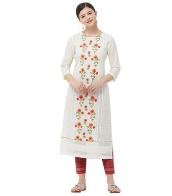 Cream embroidered cotton kurtas-and-kurtis