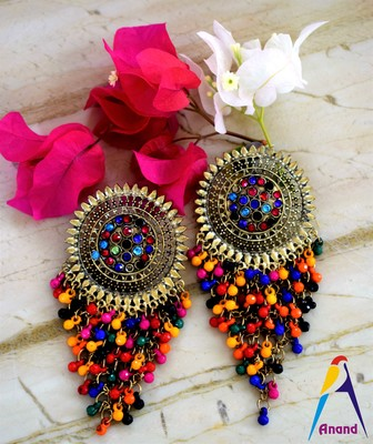 Afghani german silver oxidised traditional party wear stylish latest design dangler jhumki earrings for women and girls