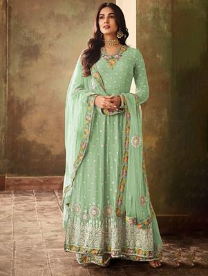 Pista Green Faux Georgette Embroidered Designer Palazo Suit