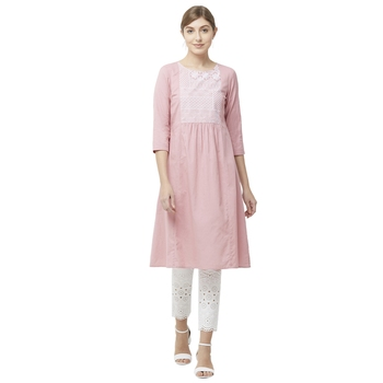 Pink embroidered rayon kurtas-and-kurtis