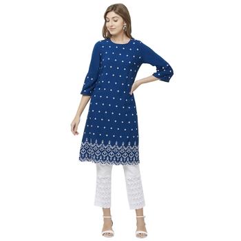 Blue embroidered rayon kurtas-and-kurtis