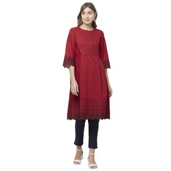 Red embroidered cotton kurtas-and-kurtis