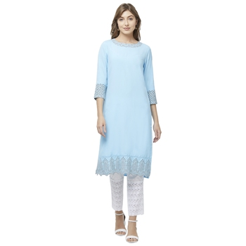 Sky-blue embroidered viscose kurtas-and-kurtis