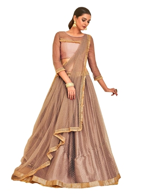 Peach Plain Satin Unstitched Lehenga