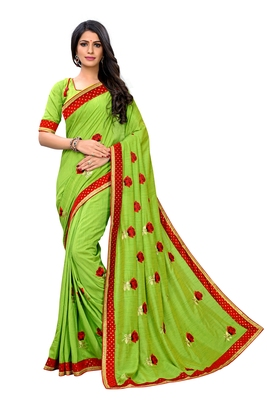 Mehendi embroidered poly silk saree with blouse