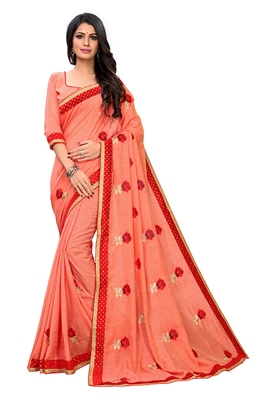 Peach embroidered poly silk saree with blouse