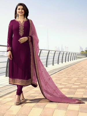 Purple Silk Georgette with Embroidery Work Straight Suit