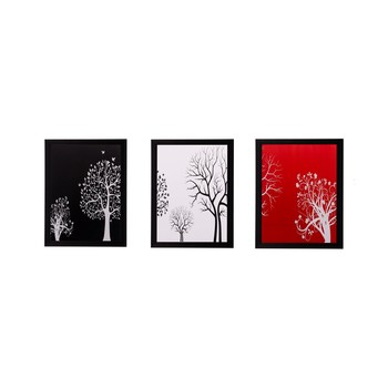 Set of 3 Abstract Tree Matt Textured UV Art Painting